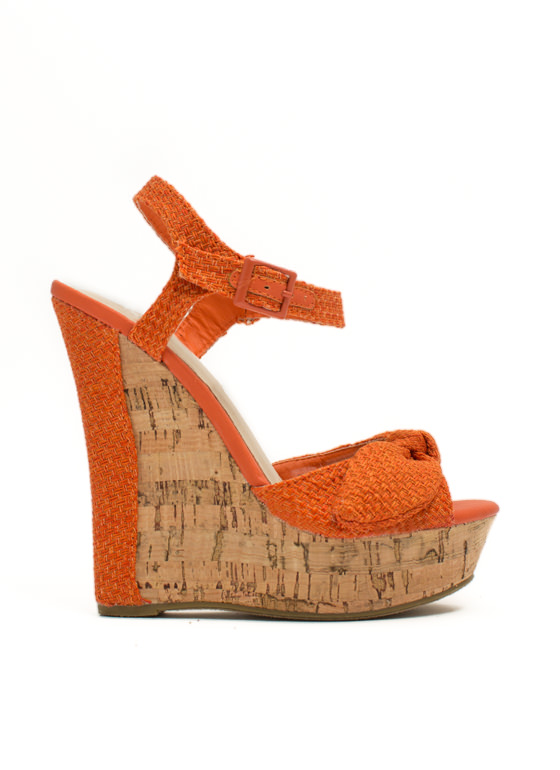 Bow Faux Cork Wedges ORANGE