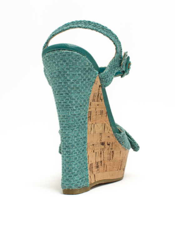 Bow Faux Cork Wedges SEAFOAM