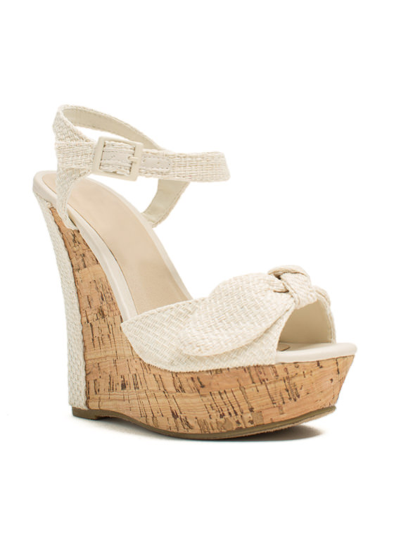 Bow Faux Cork Wedges WHITE