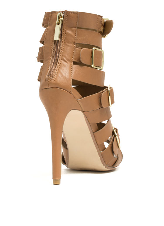 Quad Buckle Strappy Heels TAN