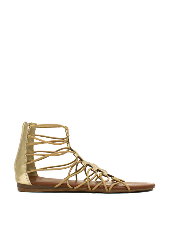 Get Loopy Gladiator Sandals GOLD