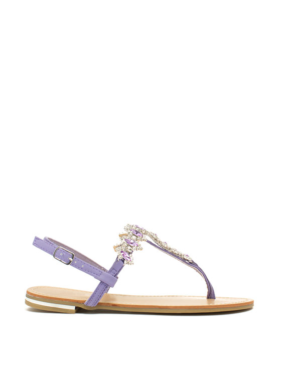Lady Jewels T-Strap Sandals LAVENDER