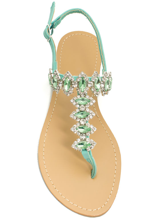 Lady Jewels T-Strap Sandals MINT