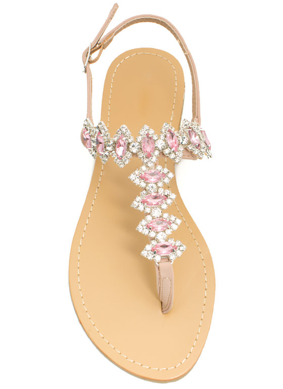 Lady Jewels T-Strap Sandals ROSE