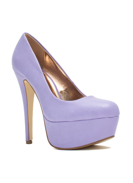 Love At First Faux Leather Stiletto Heels LAVENDER