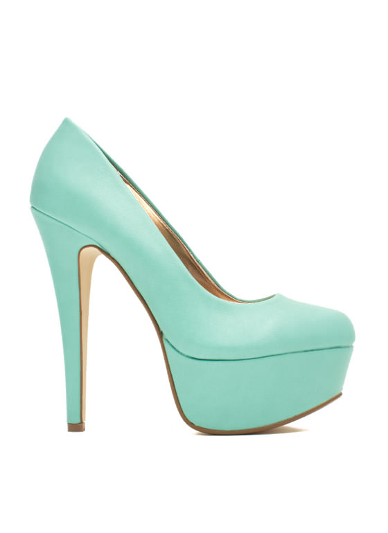 Love At First Faux Leather Stiletto Heels MINT
