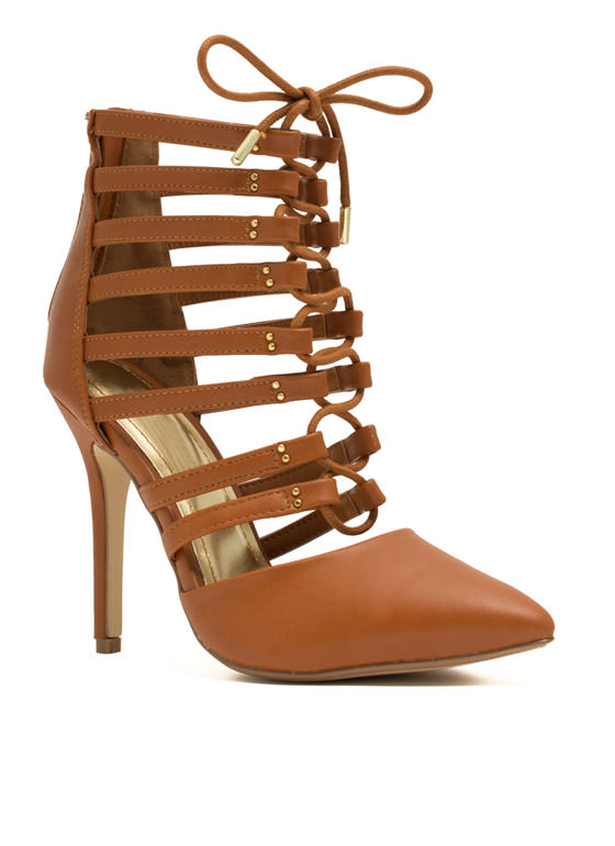 Ladder Up Strappy Pointy Laced Heels CHESTNUT