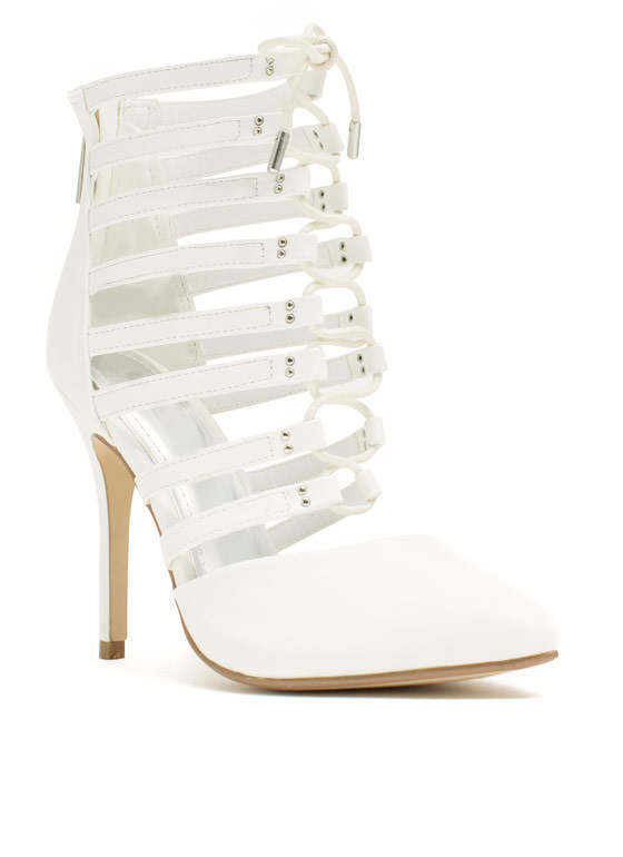 Ladder Up Strappy Pointy Laced Heels WHITE