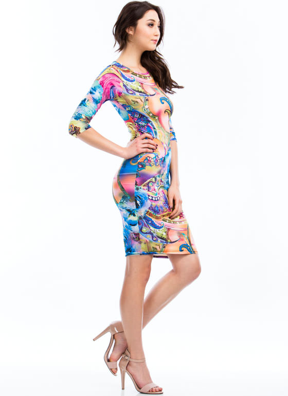 Paint A Paisley Picture Print Dress BLUE