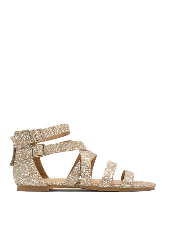 Strappy Spotted Iridescent Sandals TAUPE