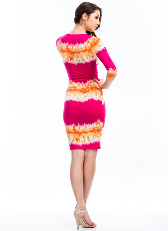 A Fire Inside Flame Print Midi Dress FUCHSIA