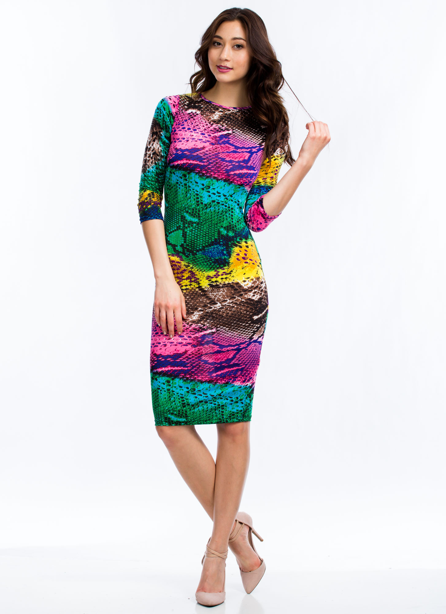 Seeing Infrared Reptile Midi Dress PINK