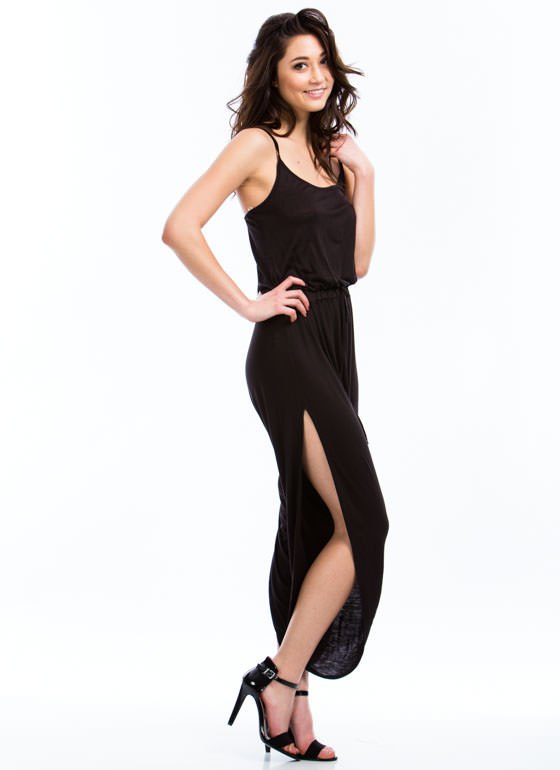 Slit Happens Strappy Split Jumpsuit BLACK