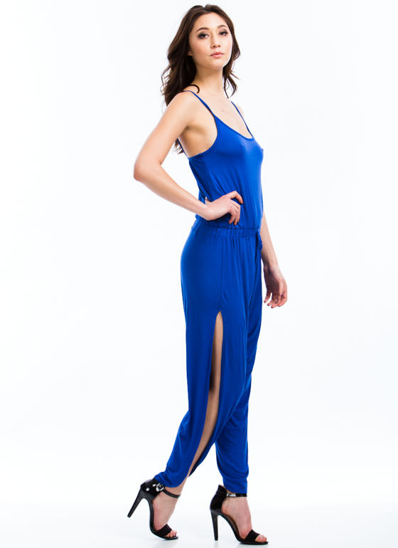 Slit Happens Strappy Split Jumpsuit ROYAL