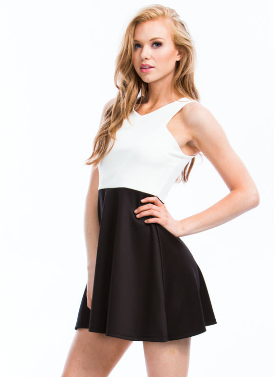 Angled Racer Front Skater Dress WHITEBLACK