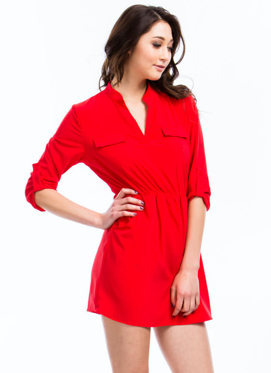 Three-Quarter Shirt Dress RED