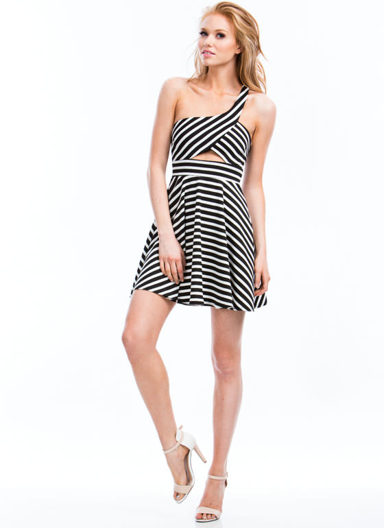Striped One Shoulder Skater Dress BLACKWHITE