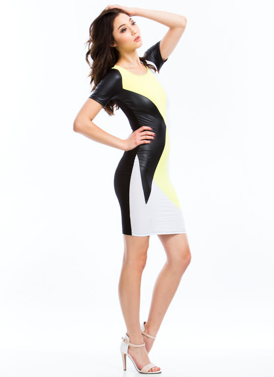 What's Your Angle Colorblock Dress YELLOWBLK