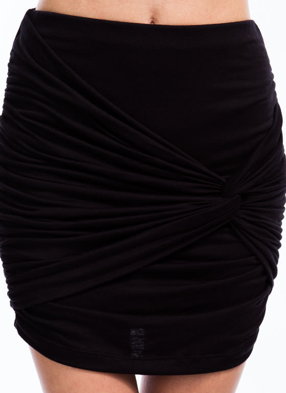 Knot Just Draped Rayon Mini Skirt BLACK