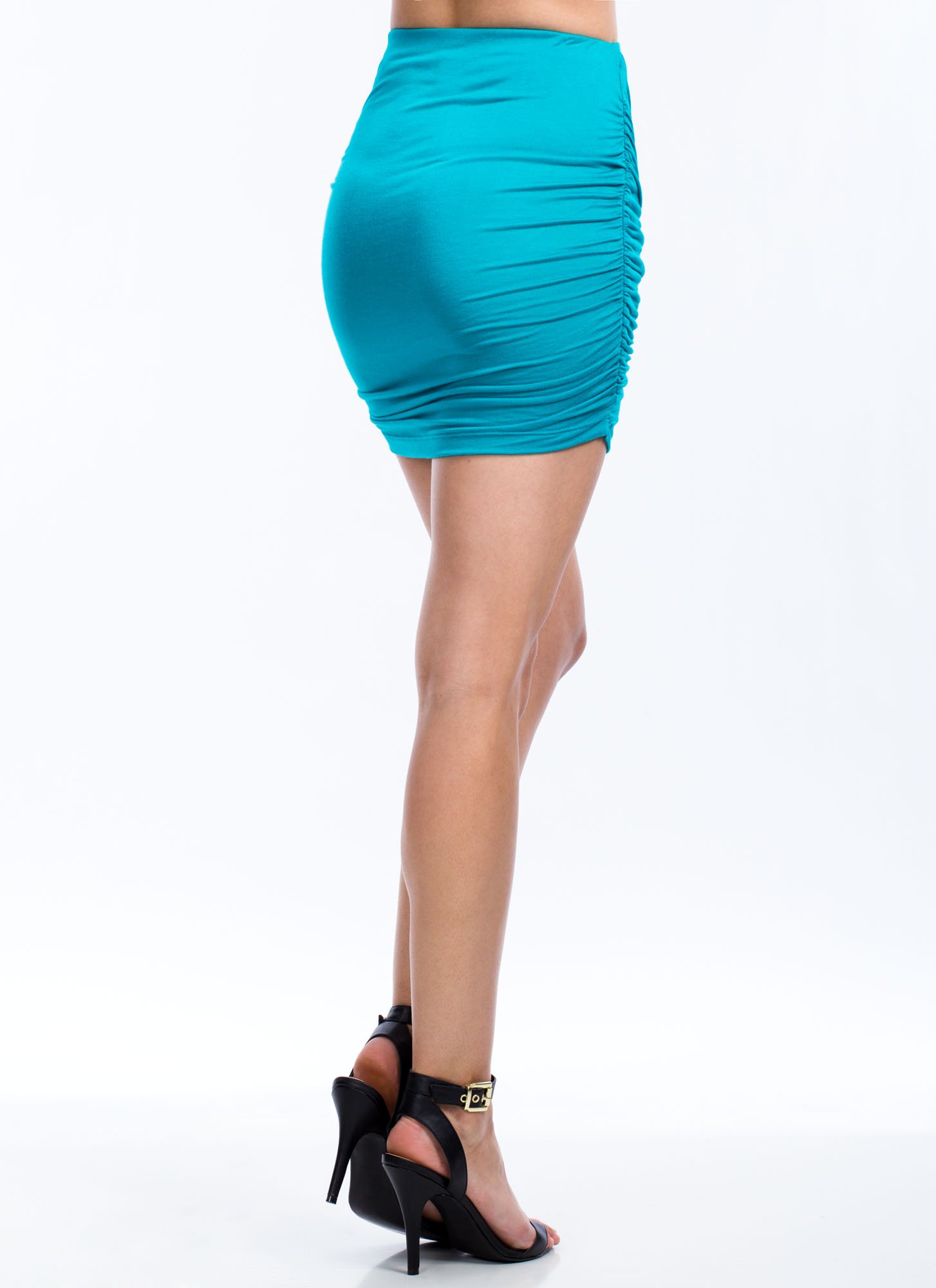 Knot Just Draped Rayon Mini Skirt JADE
