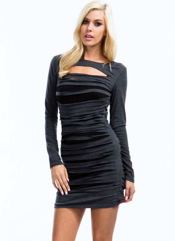 Slasher Flick Layered Dress CHARCOAL