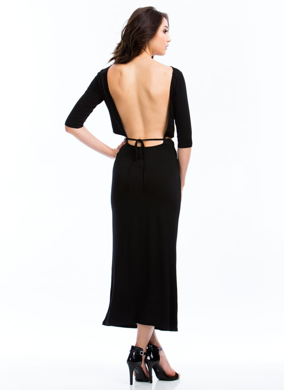 2-In-1 Open Back Dress BLACK