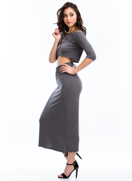 2-In-1 Open Back Dress GREY