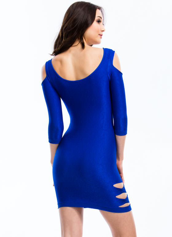 Cold Shoulder N Slit Bodycon Dress ROYAL