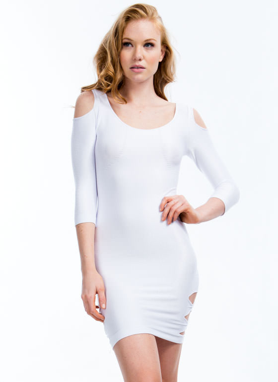 Cold Shoulder N Slit Bodycon Dress WHITE