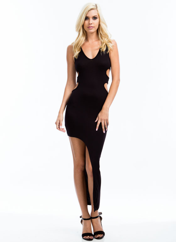 Double Cut-Out Asymmetrical Dress BLACK