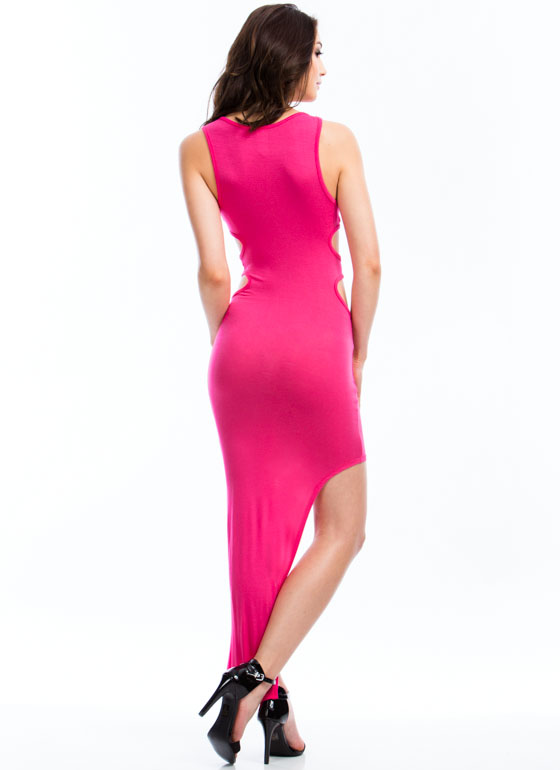 Double Cut-Out Asymmetrical Dress FUCHSIA