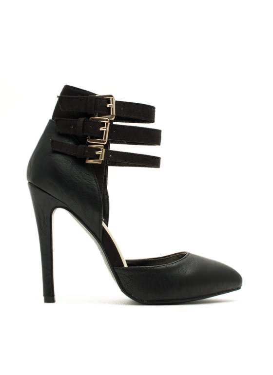 Tri-Buckle Strappy Heels BLACK