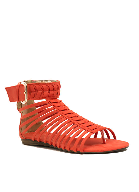 Caged Chevron Sandals ORANGE