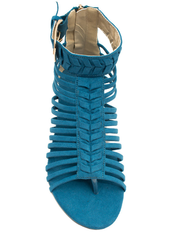 Caged Chevron Sandals TEAL