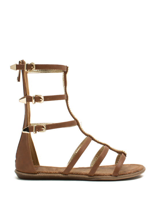 Embellished Action Gladiator Sandals TAN
