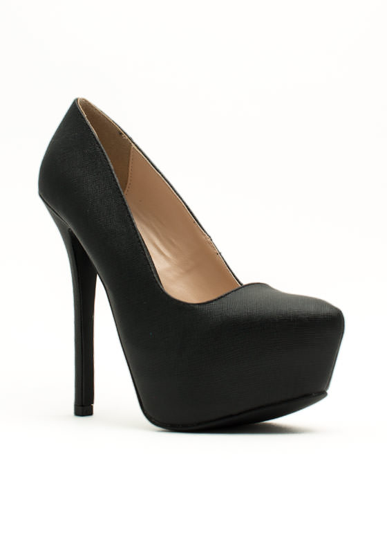 Classic Textured Platform Pumps BLACK