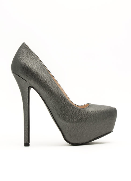 Classic Textured Platform Pumps GREY