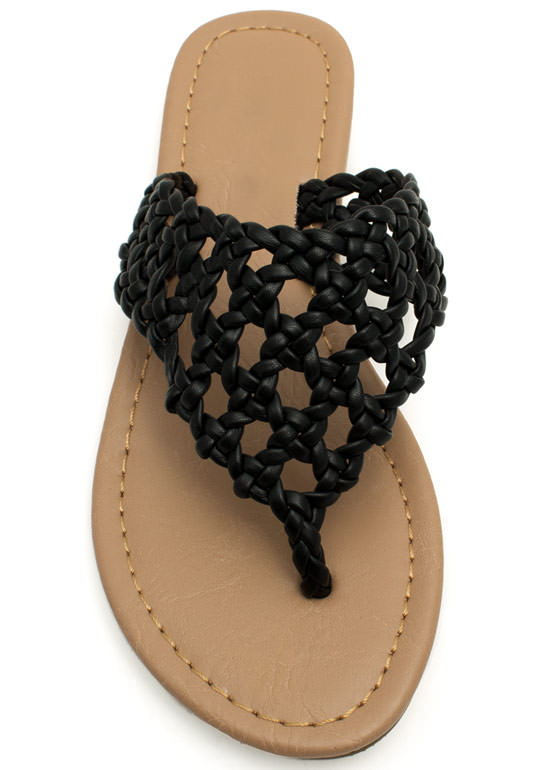 Make The Braid Woven Thong Sandals BLACK