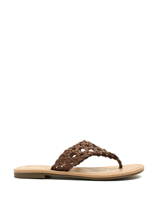 Make The Braid Woven Thong Sandals DKTAN