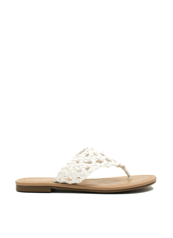 Make The Braid Woven Thong Sandals WHITE