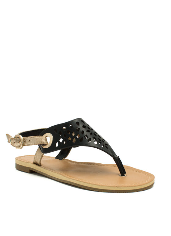 Cut Loose Metallic Strap Sandals BLACK