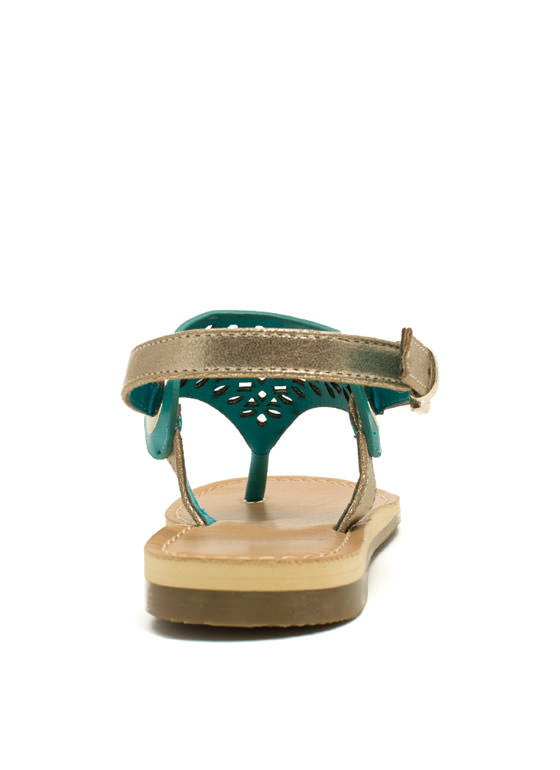 Cut Loose Metallic Strap Sandals TEAL