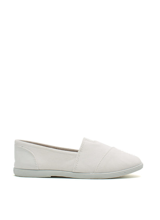 Go To Pieces Canvas Skimmer Flats WHITE