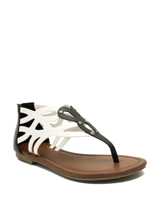 Colorblock Laser Cut-Out Sandals OFFWHTBLK