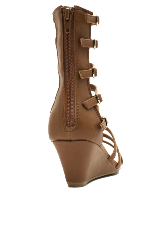 Ladderally Faux Leather Wedges TAN