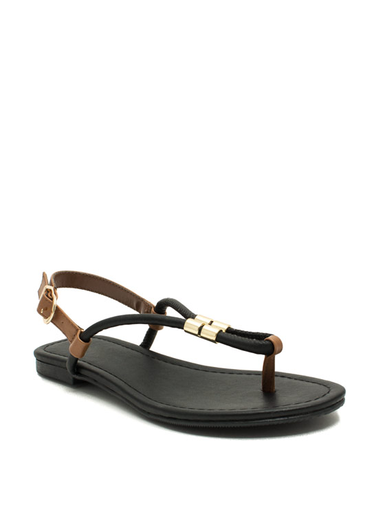 Looped Metallic Accent Sandals BLACKTAN