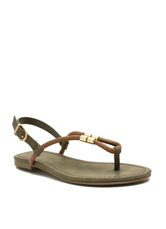Looped Metallic Accent Sandals LTTAN