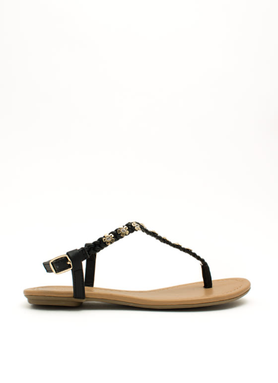 Braided Floral N Rhinestone Sandals BLACK