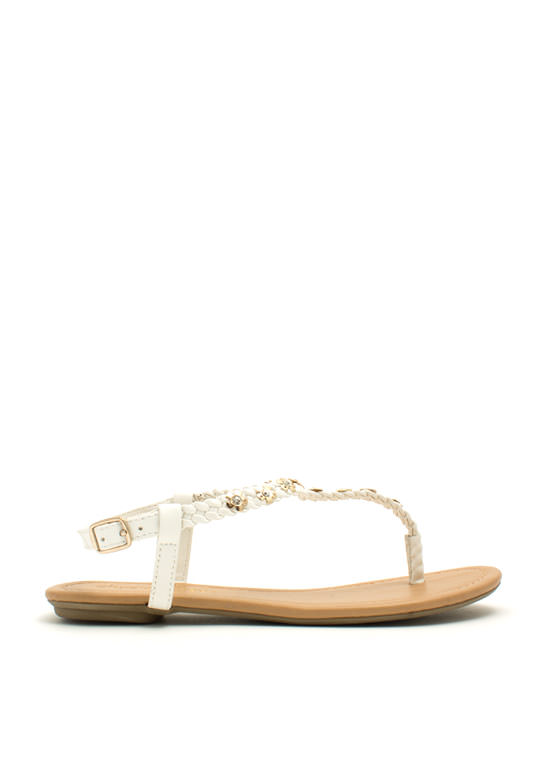 Braided Floral N Rhinestone Sandals WHITE