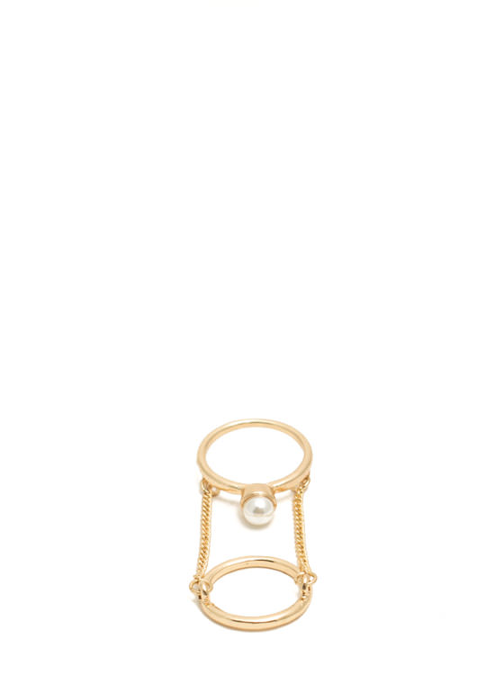Faux Pearl Ring Duo GOLDIVORY